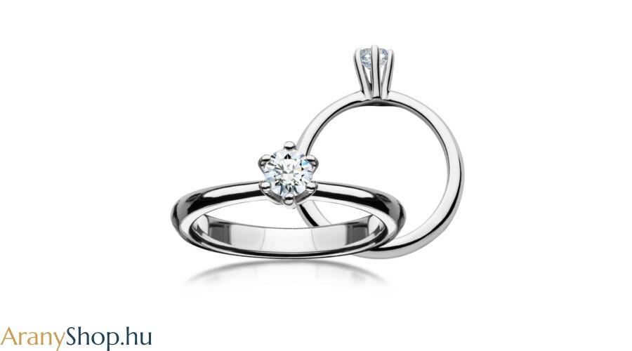 402fa99e07 14 karátos fehér arany eljegyzési gyűrű gyémánttal - Arany ...
