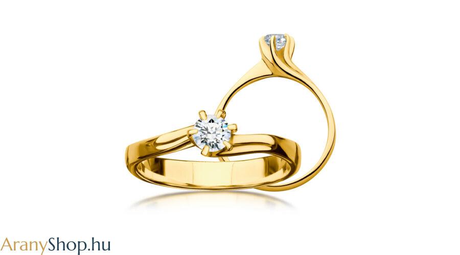18f39761f9 14 karátos sárga arany eljegyzési gyűrű gyémánttal - Arany ...